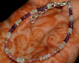Natural Ethiopian Fire Opal Ametyst & Sunstone Beads Bracelet 39