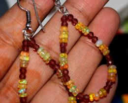 18 Crt Natural Ethiopian Welo Fire Opal & Garnet Earrings 25