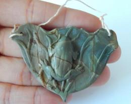 96.5cts multi color jasper carved frog pendant wholesale gemstone (A355)
