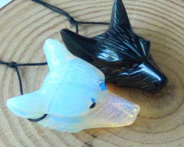 120cts 2pcs handcarved wolf head pendant opalite obsidian gemstone (A356)
