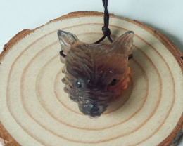 68.5cts craft natural rainbow fluorite wolf head pendant semi-gem (A373)