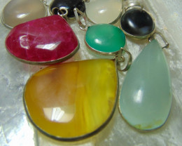 Multicolors  collective PIECES  mix sizes agates PENDENTS  190.15 cts