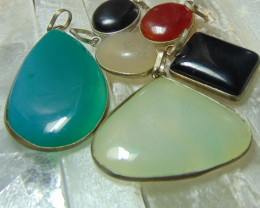 Multicolors  collective PIECES  mix sizes agates PENDENTS 170.15 cts