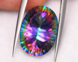 12.56Ct Natural VS Clarity Peacock Mystic Topaz Millenium Cut~ B05/13