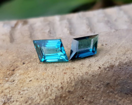 NR 1.50 Ct Natural Blueish Transparent Tourmaline Gemstones Pairs