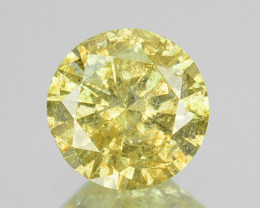 ~UNTREATED~ 0.40 Cts Natural Yellow Diamond Round Africa