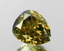 ~UNTREATED~ 0.38 Cts Natural Greenish Yellow Diamond Pear Africa