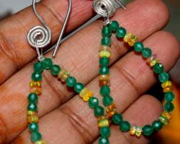 17 Crt Natural Ethiopian Welo Fire Opal & Green Onyx Earrings 21