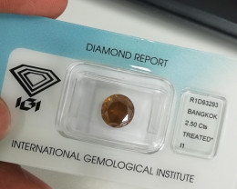 2.50 Cts IGI CERTIFIED BROWNISH ORANGY YELLOW COLOR NATURAL LOOSE DIAMOND