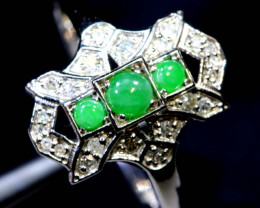 9.60 CTS- JADE DIAMOND ART DECO RING SG-2799