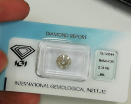 2.09 Cts IGI CERTIFIED UNTREATED NATURAL FANCY LIGHT BROWN COLOR DIAMOND