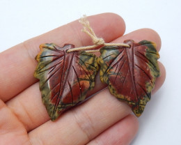 48.5cts Sale multi color jasper carved leave earring pairssemi-gem (A438)