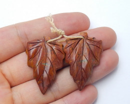 38.5cts sale multi color jasper carved leave earring pairs semi-gem (A409)