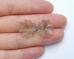 16.5cts lovely natural fluorite carved flower cabochon beads (A432)