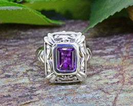 Natural Amethyst Ring 925 Sterling Silver Ring  (SSR0030 )
