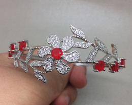 (B) Fascinating  61.0tcw  Red Ruby Composite CZ Bangle