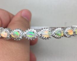(B) Fabulous Nat 71.0tcw. Australian Pear Opal And CZ Bangle