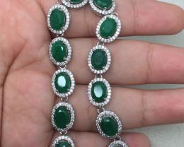(B14)Striking Natural 50.4tcw. Emerald &CZ Bracelet