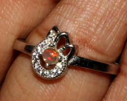 Natural Ethiopian Fire Opal 925 Silver Ring Size (5.5 US) 5