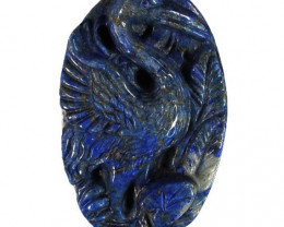 Crane Carved Cameo Focal Pendant Stone in Lapis Lazuli 100.00cts NR