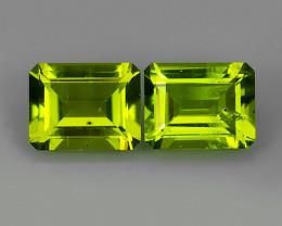 4.70 Cts High Best Natural Apple Green octogon Pakistan Peridot 2 pcs