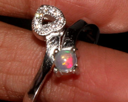 Natural Ethiopian Welo Fire Opal 925 Silver Ring Size ( 7 US ) 7