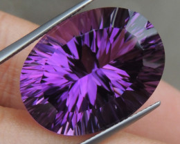 27.32cts, Amethyst,  Top Cut, Clean, Untreated, Concave
