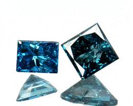 ~PAIR~ 0.171 Cts Natural Diamond Blue Princess Africa