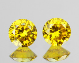 Natural Cor~Matching Pair~ 0.18Cts Natural Sparking Yellow Diamond Round Af