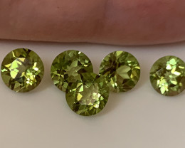 5 PIECE PARCEL OF PERIDOT GEMS 6mm -  JEWELLERY GRADE GEMS