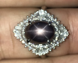 7.48 Carats Natural Unheat Star Sapphire Ring,PT900, Diamonds