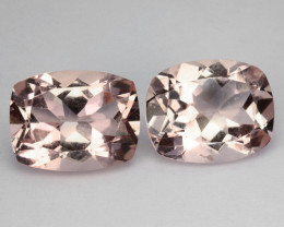 5.45 Cts Nice Peach pink Untreated Natural Morganite Cushion PAIR