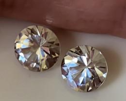 Glittering Silver White Topaz Pair 6.7mm VVS gems -
