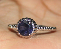 Natural Iolite 925 Sterling Silver Ring Size 9 US 4