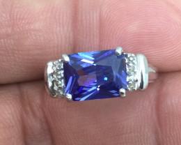 (B1) Beautiful $2175 Nat. 2.55ct New Tanzanite & Diamond Ring 10K WG