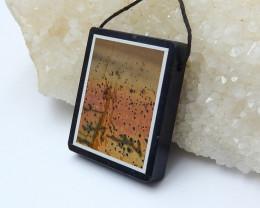 79.5cts Sale obsidian and multi color jasper pendant beads semi-gem (A576)