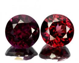~PAIR~ 2.48 Cts Natural Pinkish Red Rhodolite Garnet 2 Pcs Round Cut Mozamb