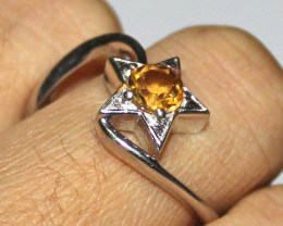 Natural Citrine 925 Sterling Silver Ring Size 9 US 3