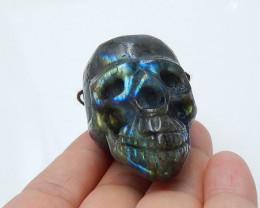 278.5cts handcarved labradorite  skull pendant beads semi-gem (A567)