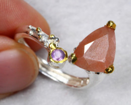 23.09cts Sunstone 925 Sterling Silver Ring FREE SIZE