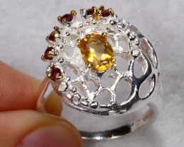 27.27cts Yellow Citrine Garnet 925 Sterling Silver Ring US 8