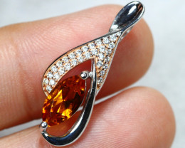 9.41cts Yellow Citrine 925 Sterling Silver Pendant