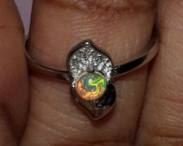 Ethiopian Welo Fire Opal 925 Sterling Silver Ring Size (6 US) 9