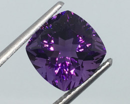 3.83 Carat VVS Amethyst Deep Purple Untreated Precision Cut Quality !
