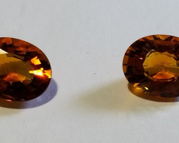 Matched Pair Madeira Citrine Ovals 2.14ct  1302492  Reserve Price Reduced!