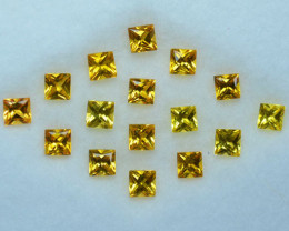 5.11Cts Golden Yellow Natural Yellow Sapphire Square Princess 3mm Parcel