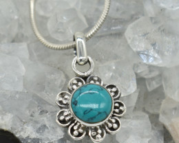 CERTIFIED  PENDANT 925 STERLING SILVER TURQUOISE  NATURAL GEMSTONE JE1231