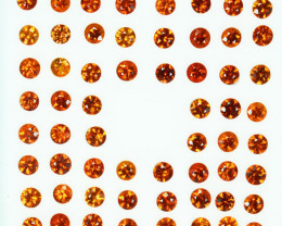 10.03Cts Dazzling Untreated Mandarin Spessartite garnet Round 3mm Parcel