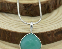 CERTIFIED  PENDANT 925 STERLING SILVER CHALCEDONY  NATURAL GEMSTONE JE1239