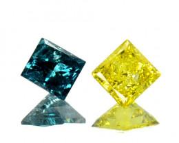 ~PAIR~ 0.246 Cts Natural Diamond Blue & Yellow Princess Africa